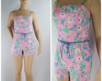 Vintage Womens 1980s Sea Waves Pink and Blue Floral Romper | Size M/L