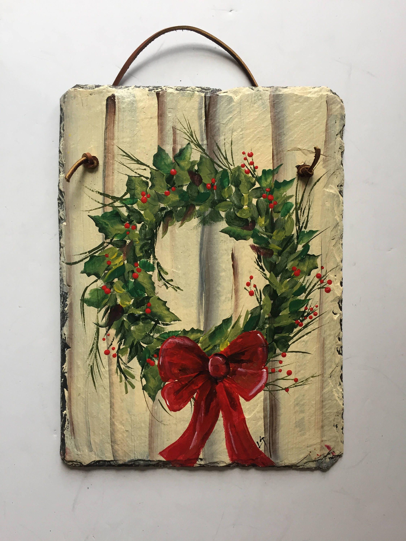 Holiday Wreath Slate door hanging Christmas Wreath welcome sign