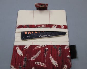 Protects health record medical cotton card holder to feather bottom Burgundy pattern