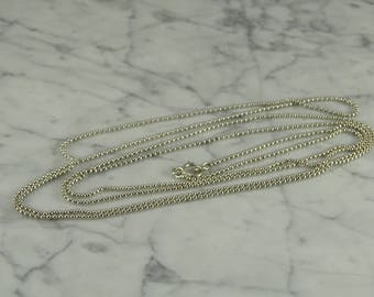 "Silver .800 Beaded Long Neck Chain (56"")"