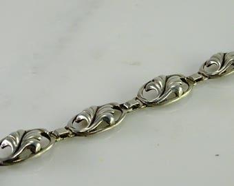 """Sterling Bracelet 7 1/2"""" Leaf Design"""