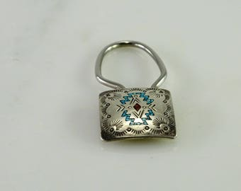 Native American Key Ring Inlay Sterling Silver