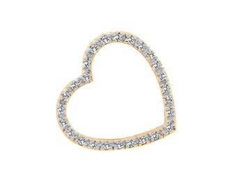 0.30 Carat Round Brilliant Cut Diamond Heart Pendant 14K Yellow Gold