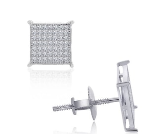 Sterling Silver White Cubic Zirconia Square Micropave Stud Earrings 6