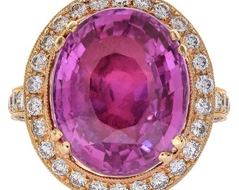 13.31 Carat Oval Cut Pink Sapphire and Diamond Halo Ring 18K Rose Gold