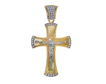 2.00 Carat Round Cut Cubic Zirconia Crucifix Pendant 14K Yellow Gold