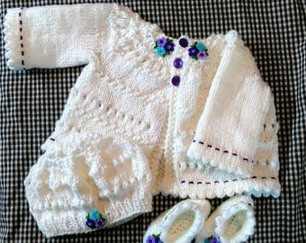 Hand knit Baby Sweater 3 - 6 Months