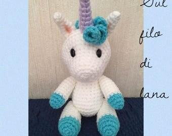 Unicorn Amigurumi-puppet Amigurumi-padded snowman-Crochet unicorn-Amigurumi unicorn-Christmas 2017 gift-Birthday gift-