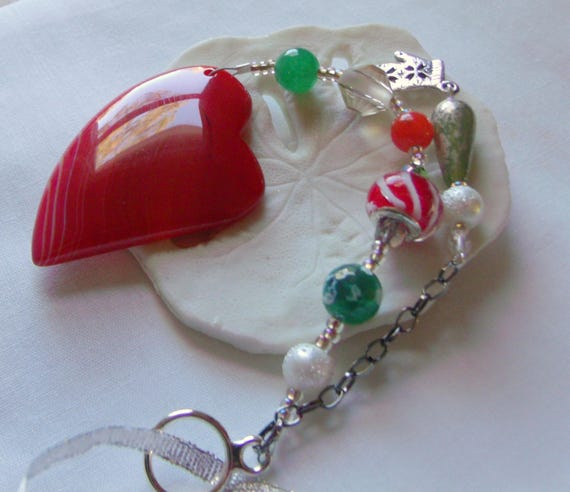 Christmas  ornament - red agate heart - candy cane beads - silver mitten charms - heart decor ideas - natural tree ornament -  Lizporiginals