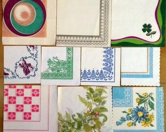 Vintage paper napkins, 10 pc set, paper napkins, retro napkins, vintage serviettes, 1 ply napkin, '70-s napkins, collectibles, unique napkin