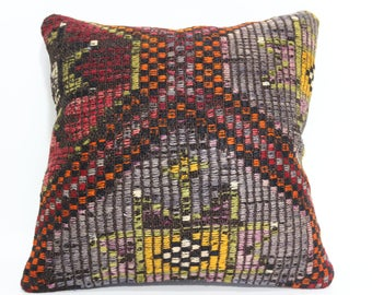 16x16 Anatolian Embroidered Kilim Pillow 16x16 Turkish Kilim Pillow Ethnic Pillow Boho Pillow Cushion Cover  SP4040-2476