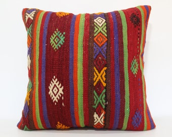 Decorative Kilim Pillow Sofa Pillow Throw Pillow Ethnic Pillow 24x24 Anatolian Kilim Pillow Bed Pillow Cushion Cover SP6060-1336