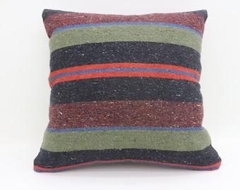 20x20 Pillows Cover Cushion Cover Kilim Pillow Striped Pillow Black Pillow Tribal Sham Turkish Pillows Green Throw Pillows Large SP5050-2714