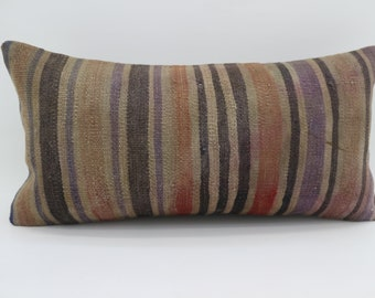 12x24 Lumbar Pillow  Multicolor Kilim Pillow Throw Pillow 12x24 Purple Striped Kilim Pillow Bohemian Pillow Cushion Cover  SP3060-1718
