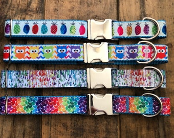 Owl Dog Collar, Colorful Dog Collar, Rainbow Dog Collar, Artist Dog Collar, Sew Fetch Dog Collar