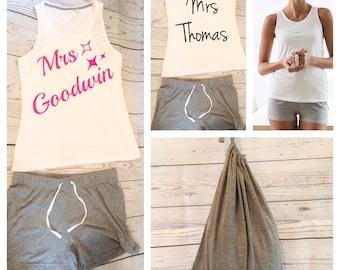 Personalised pyjamas set, shorts and vest, wedding pyjamas, wedding gift, bride pyjamas, pj's, personalised nightwear, bridesmaid pyjamas