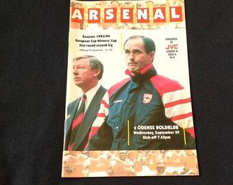 Arsenal v Odense Boldklub Wednesday September 29th 1993 football Programme