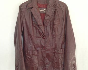 late 70s/early 80s oxblood leather blazer by ETIENNE AIGNER, sz 10