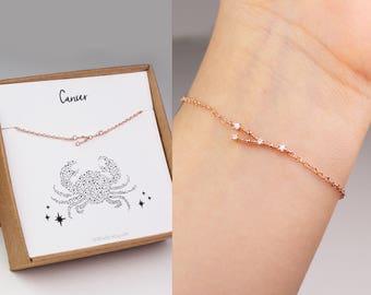 Constellation bracelet, horoscope jewelry, zodiac bracelet, sister birthday gift, horoscope bracelet, zodiac jewelry, cancer bracelet