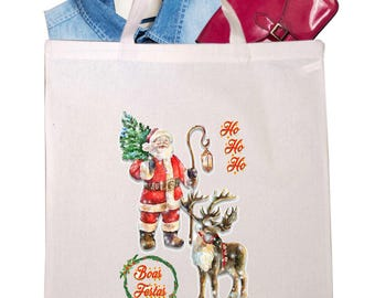 Natural cotton carrier bag 38x42cm. Santa Claus. Text:Merry Christmas other languages. Long or short handles.Cotton tote bags.Gift Handbag.
