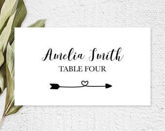 Wedding Place Cards, Wedding Place Card Printable, Place Card Template, Wedding Printable, Flat Place Card, Folded Place Cards, Rustic