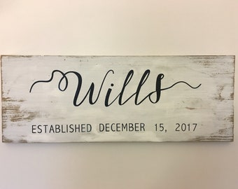 Last Name and Wedding Date Distressed Wooden Sign