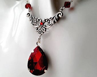 Gothic Red Annie Crystal Drop Necklace