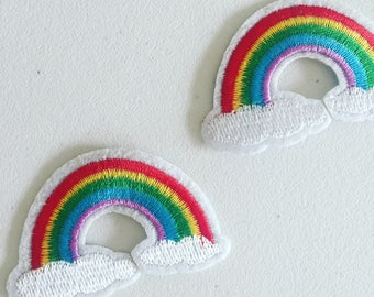 Rainbow Iron-On Patch, Vintage Effect Patch, DIY Embroidery, Embroidered Applique, Hippie Vintage Gift