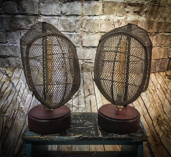 Vintage Fencing Mask Table Lamps (PAIR)