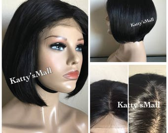 Silk Base Bob cut wig, short wig, bob wig, virgin hair, glueless wig.lace closure wig