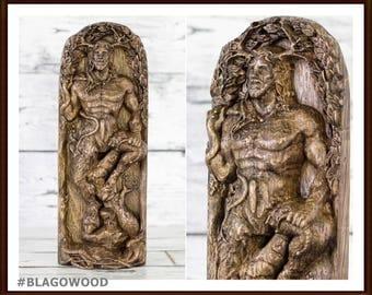 Cernunnos, wooden, Cernun, horned god, celtic god, pagan god, wiccan, wicca, altar, druid, witcher, gaelic