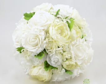 Artificial Wedding Flowers, Ivory & White Brides Bouquet Posy with Ranunculus
