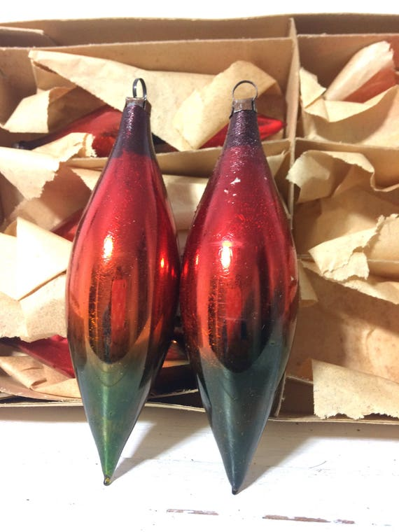 Vintage Psychedelic Ombre Style Hand Blown Glass Ornaments So Groovy and Mod!