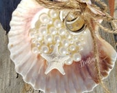 Beach Wedding Pearls and Shell Decor, Ring Bearer Pillow Alternatives, Wedding Proposal, Starfish Ring Holder, Personalize Ring Holder