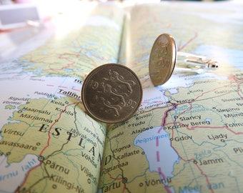 Estonia lion coin cufflinks - made of original coins from Estonia - wanderlust - 1992