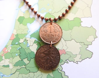 Netherlands 1941 duo vintage coin necklace - original 1 cent - birth year - Amsterdam - wedding present - 77th birthday