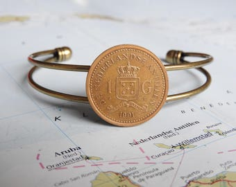 Bonaire / Curacao coin cuff bracelet - 3 different designs - made of original coins - Lesser Antilles - Island gift