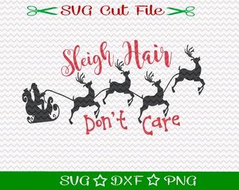 Sleigh Hair SVG File, SVG for Silhouette, Xmas SVG, Happy Holidays, Christmas svg, Sleigh Svg, Christmas Cut File