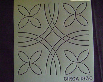 Traditional Quilting Stencil 8 in. Pumpkin Seed Motif Block/Quilting Circa 1830