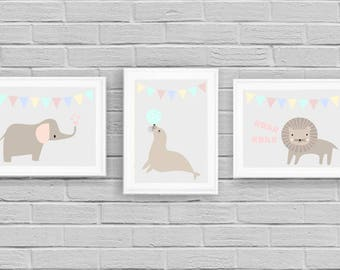Nursery Art Trio, Set of Three  Prints, Kids room, Newborn baby gift,  triptych,wall art, Printable posters, Instant download, Animals