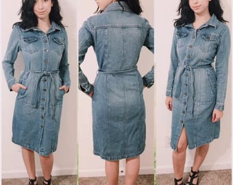 Pretty Wash Blue Denim Dress with Pockets and Down buttons By MY COLLECTION Size 10 Europe Size 40