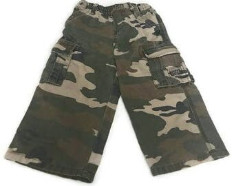 Vintage Green Camouflaged Pants  Navy Cargo Size 24 Months By Place