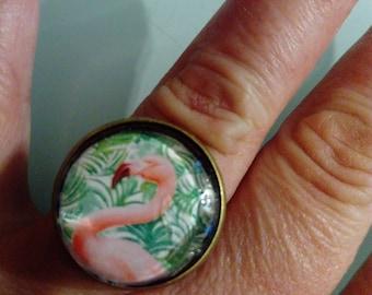 Ring cabochon pink Flamingo ethnic pattern