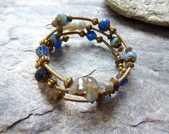 Bracelet Czech beads and gems, blue, grey and bronze, Bohemian style.