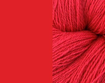 Wool Yarn, red, DK, 3-ply worsted knitting yarn 8/3 100g/130m