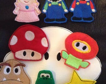 Plummer brothers video game finger puppts  mario inspired