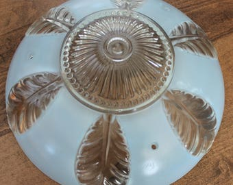Vintage 3 chain blue frosted glass ceiling fixture leaf pattern