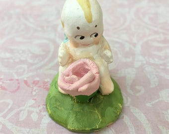 Little Vintage Chalkware Kewpie with Rose