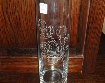 Vase with etched Rose