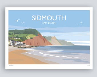 Sidmouth, East Devon. Landscape Print. HAND SIGNED Art Print/Travel Poster. Plus Free Postage!